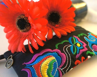 Black Embroidered Wristlet
