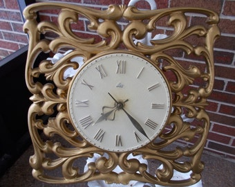Vintage Lux Wall Clock/ Retro/ Home Decor/ Clock/ Hollywood Regency/ Electric/ Gaudy