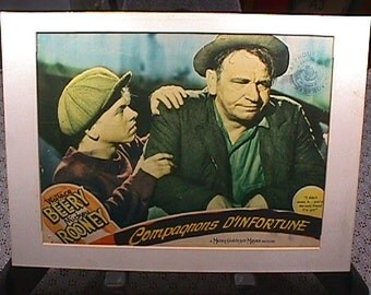 Vintage A Real Movie Poster from the 1930's Titled Compagnon's D'Infortune Starring Mickey Rooney, and Wallace Berry