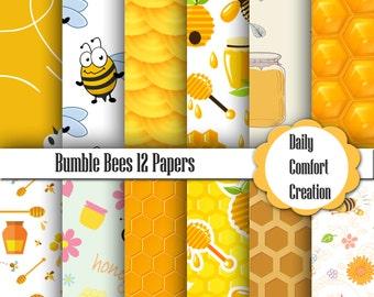 Bumble Bee Digital Paper, Bumble Bee Paper, Honey Bee Page, Bumble Bee, Digital Papers, Digital Paper, Scrapbook Paper, Background, #3894
