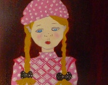 Painting, oil, child's room, naive art for your interior decoration painting