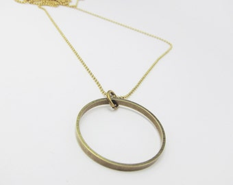 PIECES chain circle - brass - long