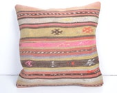 DECORATIVE THROW PILLOW Kilim Pillow Cover Turkish Pillow Case Kilim Cushion Cover decor pattern pastel coral red boho aztec shabby chic old
