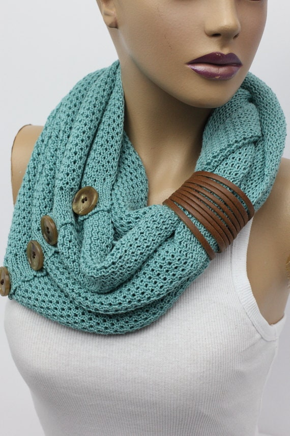 knit button infinity scarf Leather cuff circle scarf winter