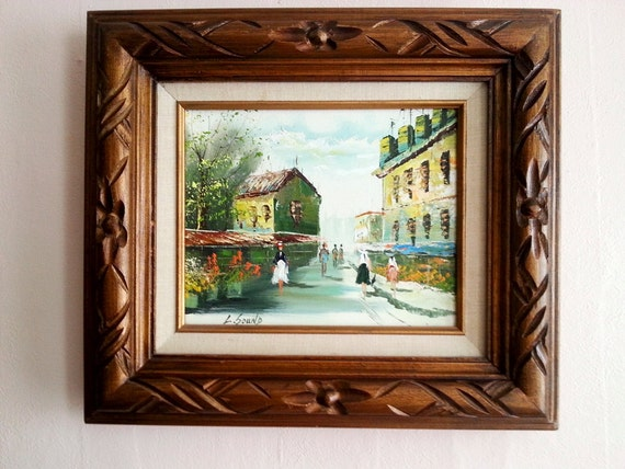 Oil Painting On Canvas With Double Matted Frames Carved Wooden