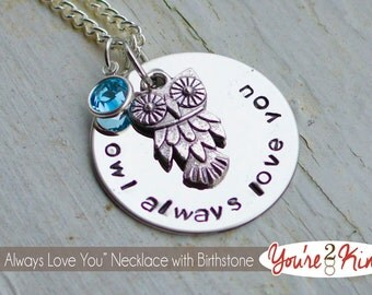 Owl Always Love You Necklace with Birthstone