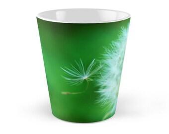 Dandelion Floral Ceramic Mug, 12 ounce Tall Blue Mug,  Green Dandelion Puff Ceramic Mug, Green and White Flower Ceramic mug
