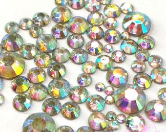 400 pcs Mix 2mm to 6mm Resin Crystal AB round Rhinestone 14 faceted cut Flatback M1-30