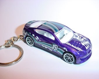 3D Hyundai Genesis Coupe custom keychain by Brian Thornton keyring key chain finished in purple/white color racing trim