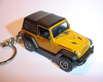 3D Jeep Wrangler Rubicon custom keychain by Brian Thornton keyring key chain finished in gold color factory trim 4x4 offroad mission truck