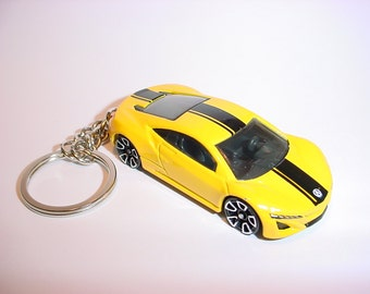 3D Acura NSX custom keychain by Brian Thornton keyring key chain finished in yellow color trim CONCEPT 2012