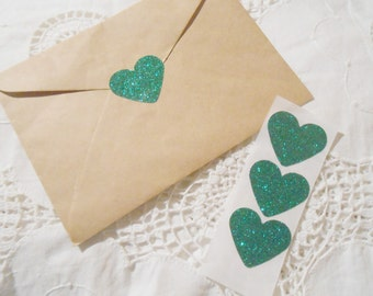Large Emerald Green Glitter Heart Wedding Event Envelope Seals - Sweet Love Stickers x 25