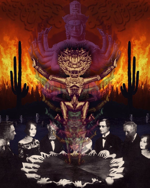 TEA005: Seance - Surreal, Metaphysical, Collage Art, Dark Art, Magic, Vishnu, Ectoplasm, Shiva, Mayan, Cactus, Zodiac, Astronomy, Desert