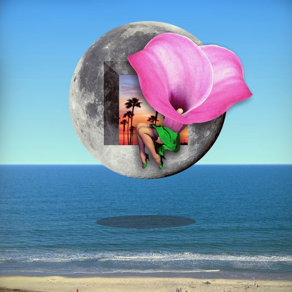 TEA011: The Moon and the Beach - Surreal, Metaphysical, Collage Art, Ocean, Flower, Lady, Astronomy, Mystical, Zodiac, Sacred Geometry