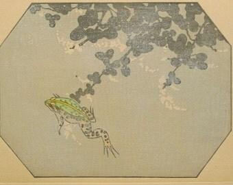 "Ukiyoe, Original Sōsaku-hanga, Woodblock print, antique, Tobei Kamei, ""Japanese bush clover"""