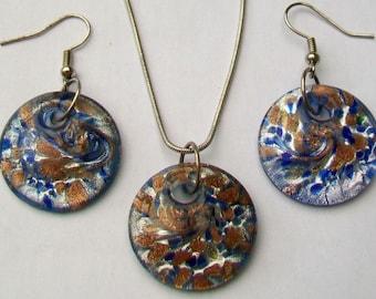 Blue Venetian Glass Pendant 0n Chain Necklace & Earrings Set