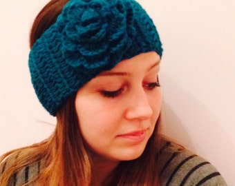 Crocheted Headband, Crocheted Earwarmers, Ladies Headband with Flower