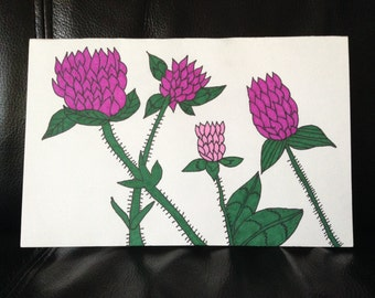 Red Clover Flower Hand Painted Greeting Card
