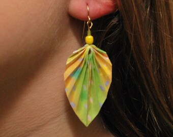 Origami Leaf Earrings (green and yellow)