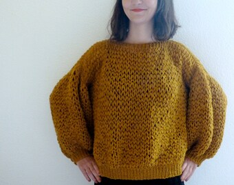 -Wool Sweater - lace knitted hand - size S or M