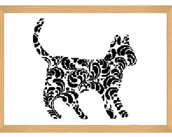 cat cross stitch pattern, silhouette cross stitch, ornamental, cat pattern, abstract, romantic pattern, modern cross stitch, black and white