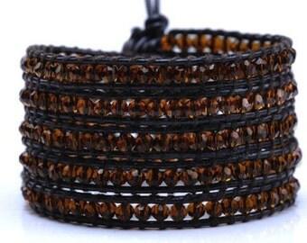 Caramel Leather Wrap Bracelet