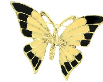 Vintage Enamel Butterfly Brooch/Pin-Cream, Black and Gold