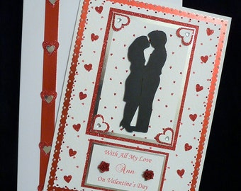 Large Handmade Boxed Personalised Valentines Day Card for Wife/Husband/Friends etc