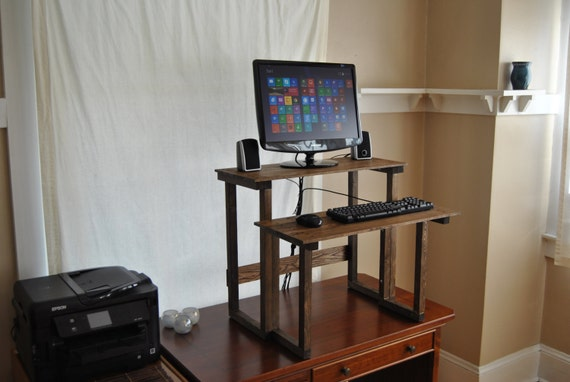 custom height standing computer desk reclaimed wood oak and pine