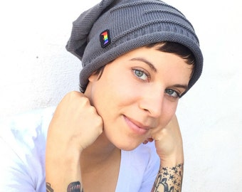 OUT is in USA Slouchie Beanie, NEW Red,Lt Grey,Charcoal or Black, skull cap,rainbow cap,pride cap, lesbian beanie,uni sex, soft knit beanie,