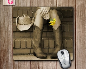 Country Girl Mousepad with boots and flower