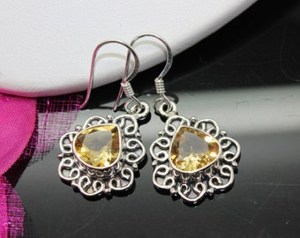 Citrine Earrings, Sterling Silver Earrings, Gemstone Earrings