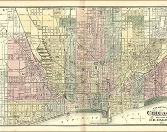 24x36 Poster; Map Of Chicago 1885