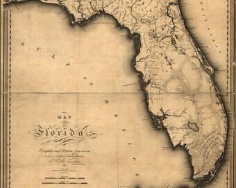 24x36 Poster; Map Of Florida 1823