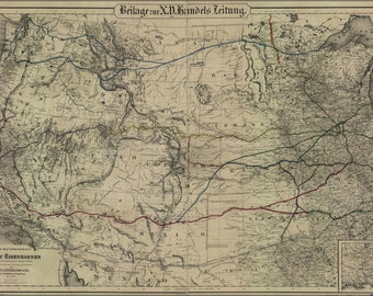 24x36 Poster; Railroad Map Western United States 1870 In German