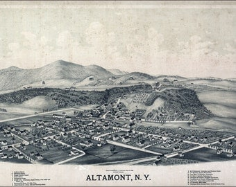 24x36 Poster; Birdseye View Map Of Altamont New York 1889