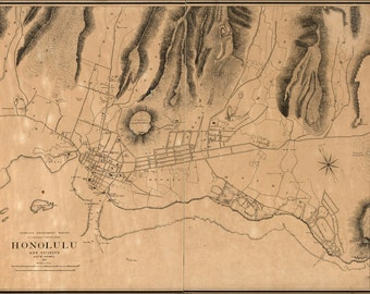 24x36 Poster; Map Of Honolulu Hawaii 1887