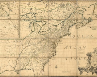 24x36 Poster; Map Of North America Early United States  1776