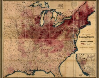 24x36 Poster; Map Of Phthisis Or Tuberculosis In United States Of America 1874