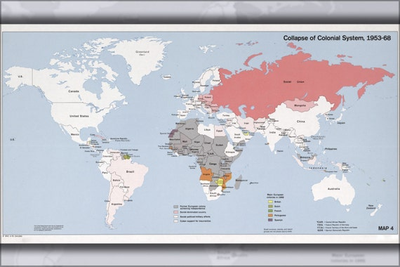 24x36 Poster Cia World Map Of Colonial System Collapse