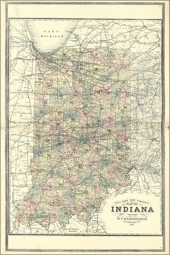 24x36 Poster Railroad And Township Map Of Indiana 1889