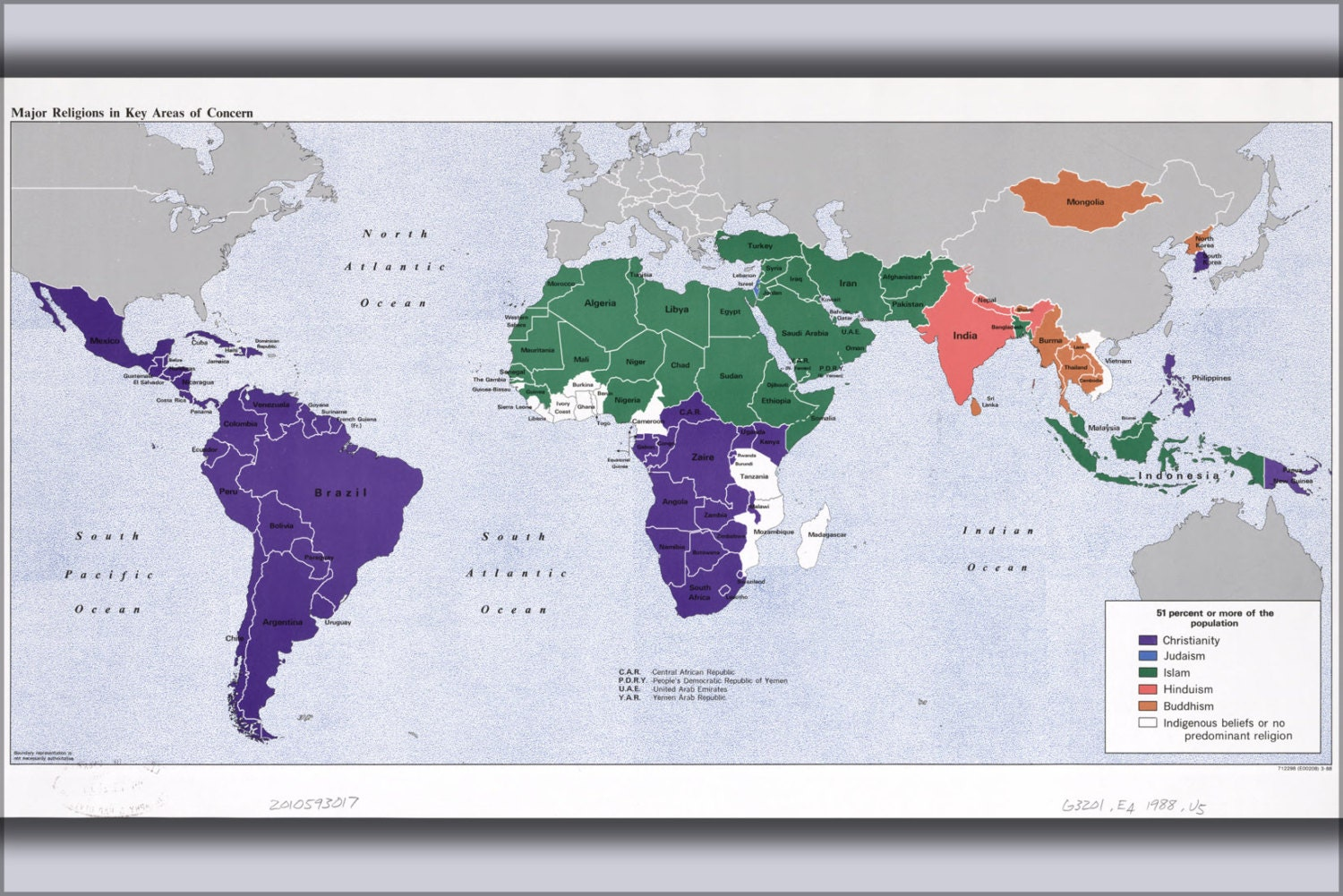 24x36 Poster Cia World Map Of Religions In Concern Areas 1988