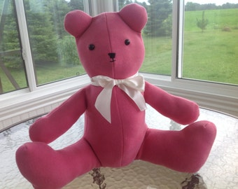 Custom teddy bear made from your favorite clothing