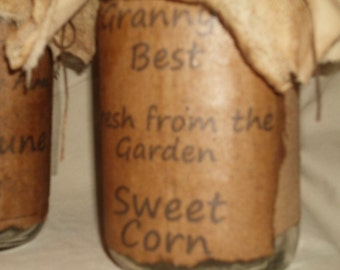 Handmade Primitive Grubby Grungy Quart Canning Jar, Make Do Jar, Jar Tuck, Jar Decoration. Primitive Jar Decoration