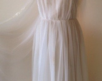 White chiffon pleated debutante vintage dress with diamante straps