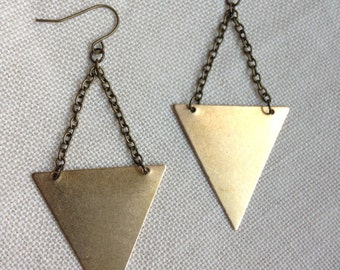 Raw Brass Triangle and Chain Earrings