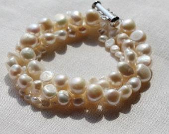 ivory Pearl Bracelet, freshwater pearl bracelets, pearl bracelet bridesmaid, pearl wedding jewelry, bridal jewelry pearl bracelet