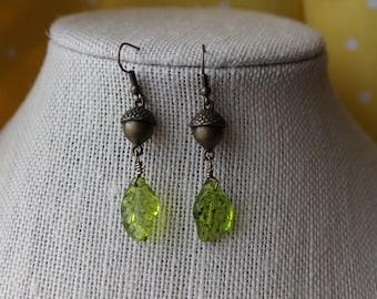 Acorn and Leaf Earrings (Bronze)