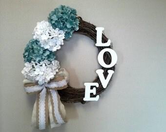Spring Wreath, Summer Wreath, Love Wreath, Hydrangea Wreath