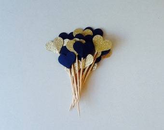 Navy and Gold Lux Heart Cupcake Toppers